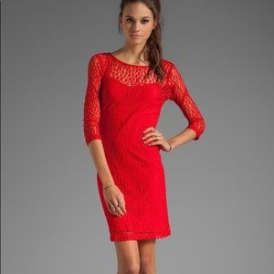 Trina Turk 3/4 sleeve red lace dress